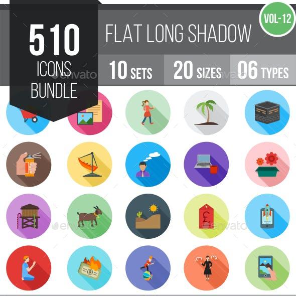 510 Vector Flat Shadowed Icons Bundle (Vol-12)