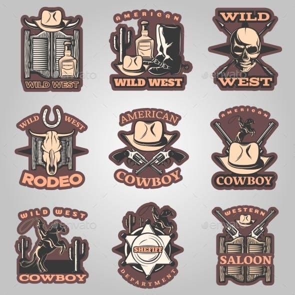 Wild West Emblem Set In Color