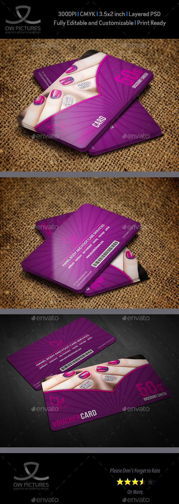 Nail Salon Gift Voucher Card Template - Cards & Invites Print Templates