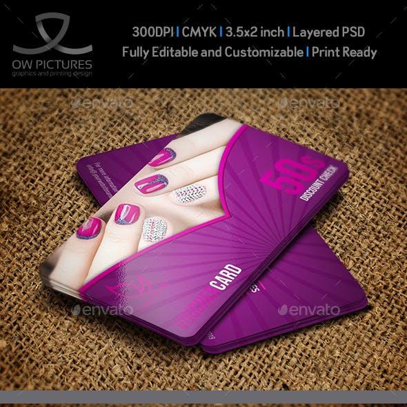 Nail Salon Gift Voucher Card Template