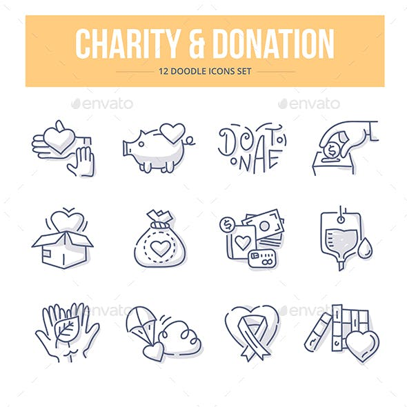 Charity & Donation Doodle Icons