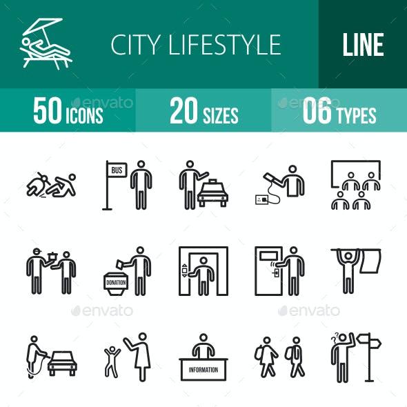 City Lifestyle Line Icons
