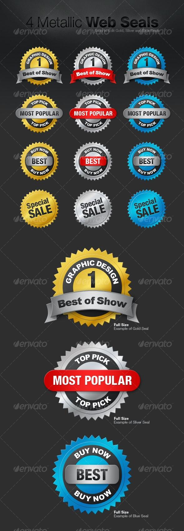 4 Metallic Web Seals - Buttons Web Elements