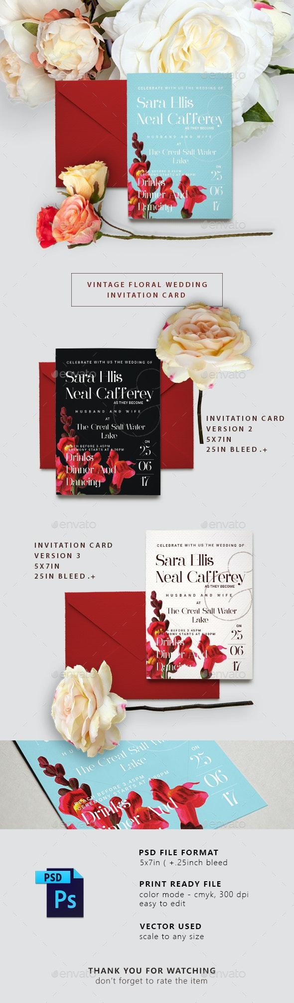 Vintage Floral Wedding Invitation Card - Weddings Cards & Invites