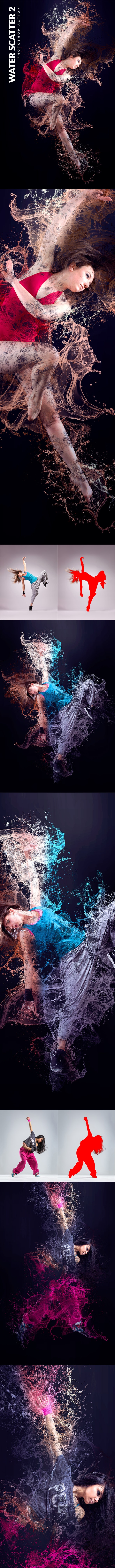 Water Scatter 2 Photoshop Action - Photo Effects Actions