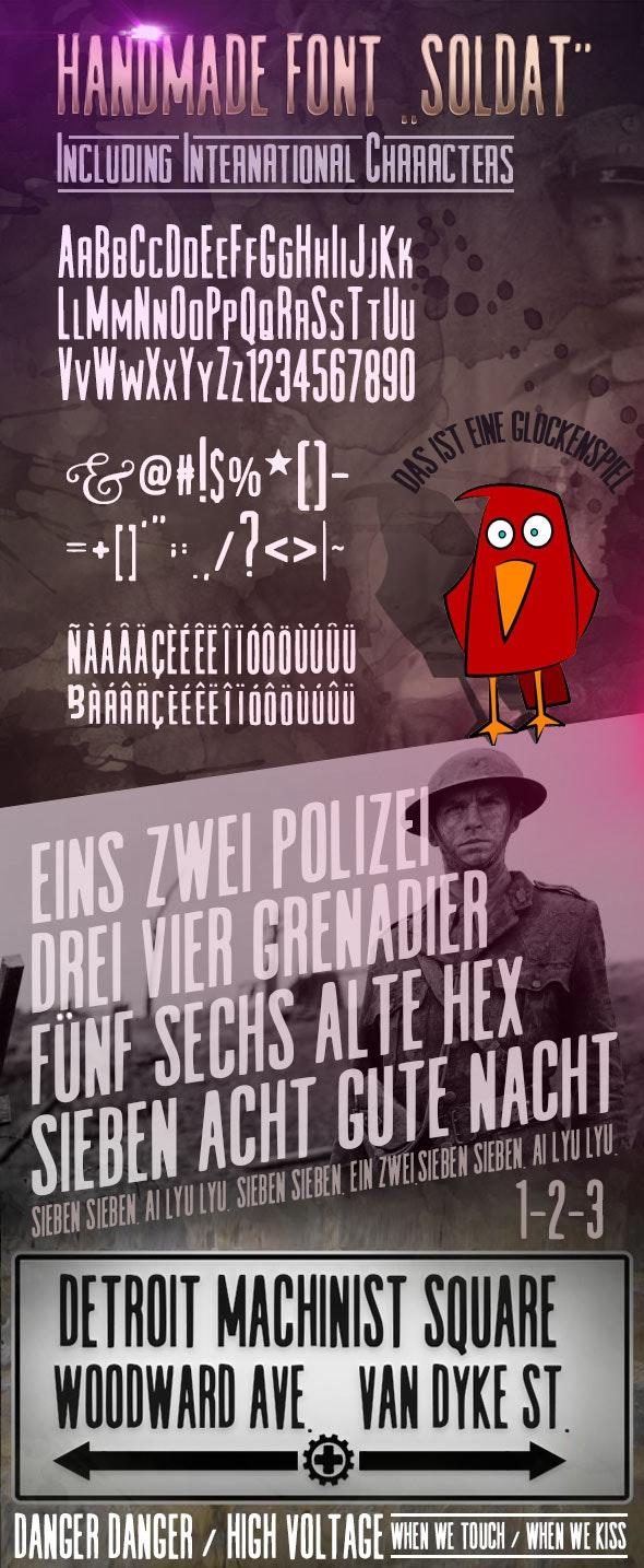 Handmade Font Soldat - Sans-Serif Fonts