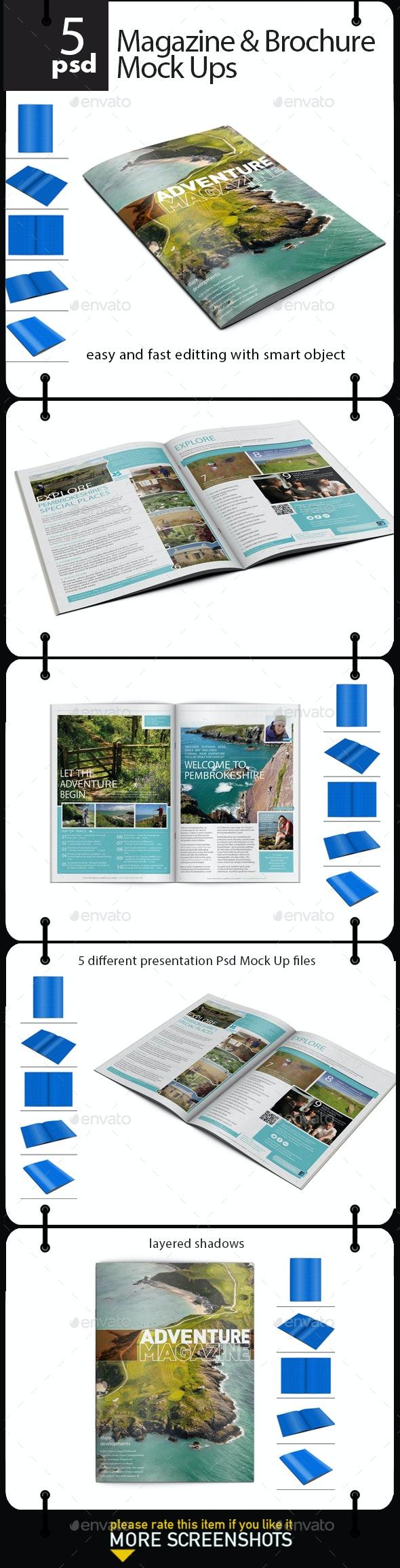 Magazine & Brochure Mock up  - Product Mock-Ups Graphics