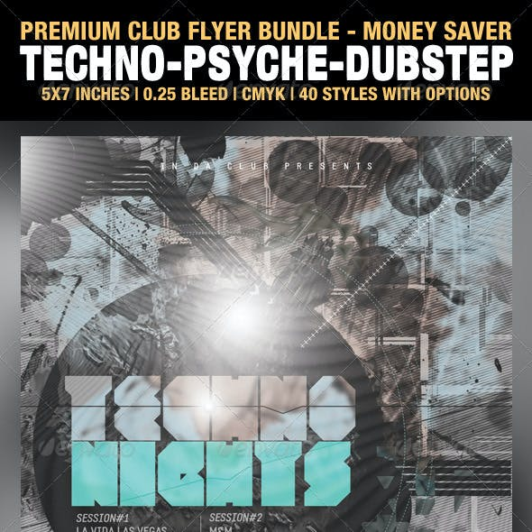 Techno, Psychedelic, and Dub-step Club Flyers