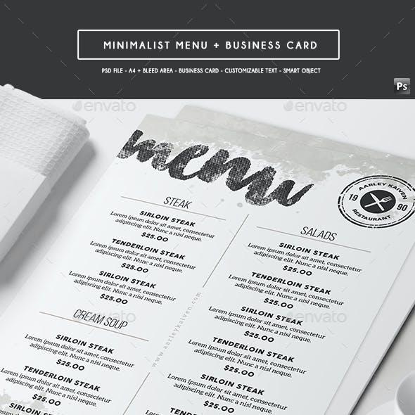 Minimalist Menu + Business Card