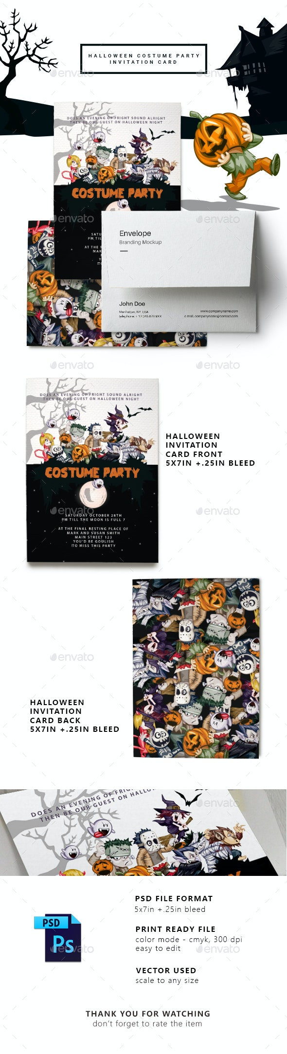 Halloween Costume Party Invitation Card - Cards & Invites Print Templates