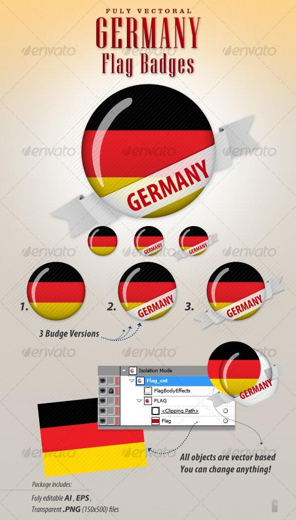 Germany Flag Badges - Decorative Vectors