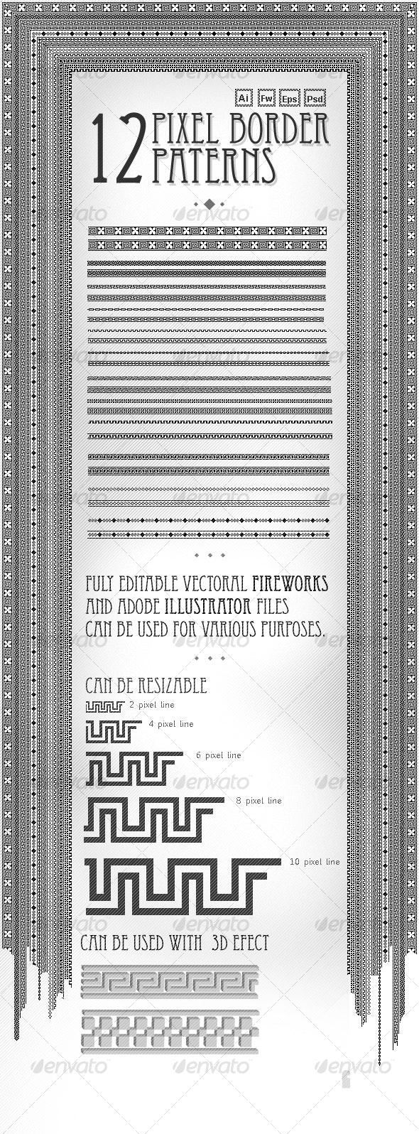 Pixel border pattern Pack(12 piece) - Decorative Vectors
