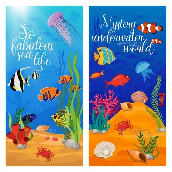 Sea Life Animals Plants Banner Set