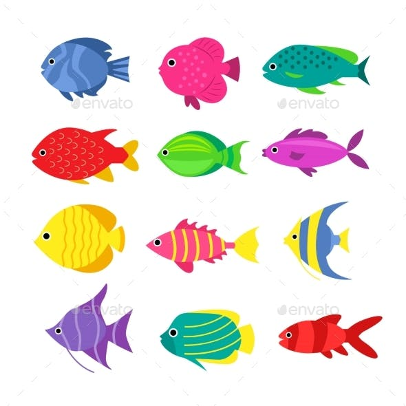 Set Of Aquarium Cartoon Fishes