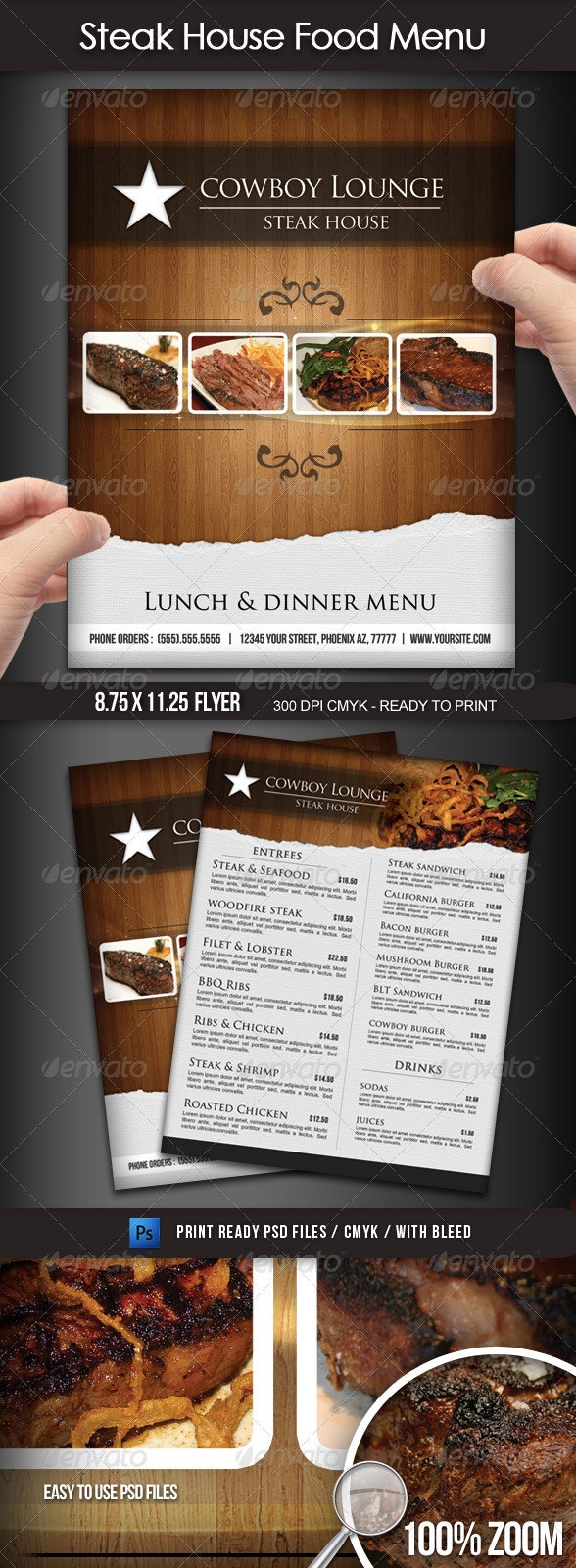 Steak House Menu Flyer - Restaurant Flyers