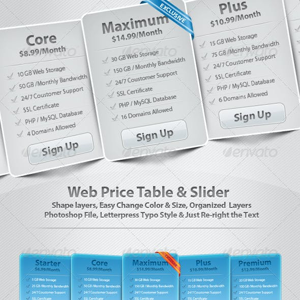Web Price Table & Slider