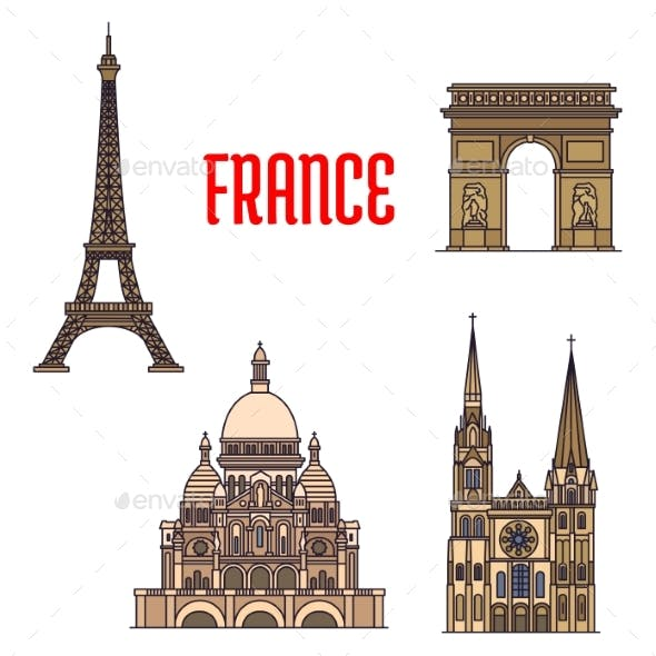 Architectural Travel Landmarks of France Icons
