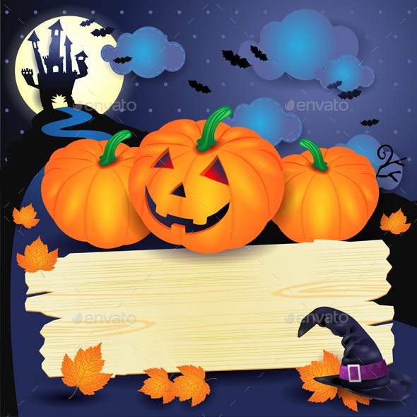 Halloween Background with Sign and Pumpkins