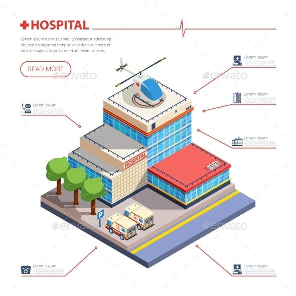 Hospital Building Isometric Illustration  - Health/Medicine Conceptual