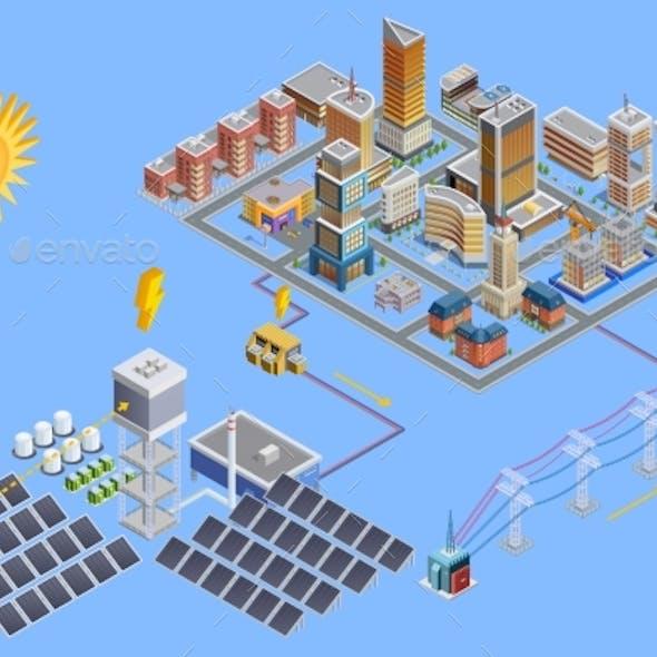 Solar Station Isometric Poster