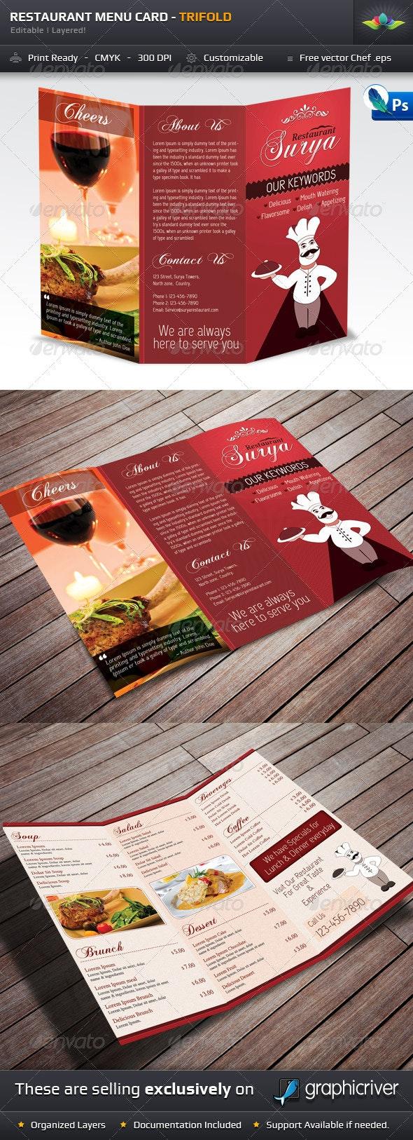 Restaurant Menu Card - TriFold - Food Menus Print Templates