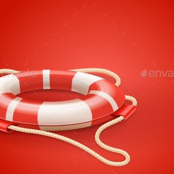 Life Buoy For Drowning Rescue And Help Support