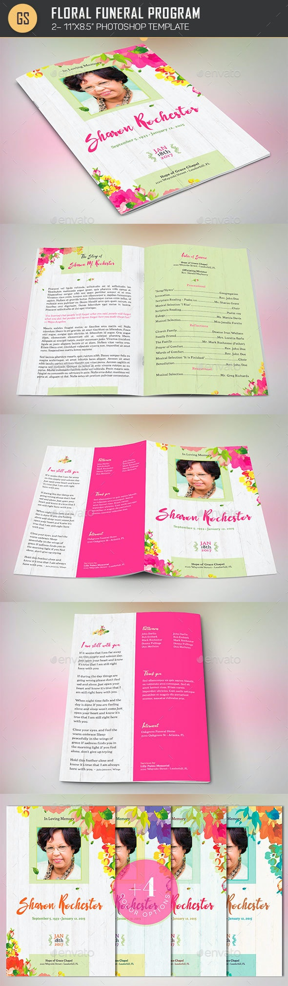 Floral Funeral Program Template - Informational Brochures