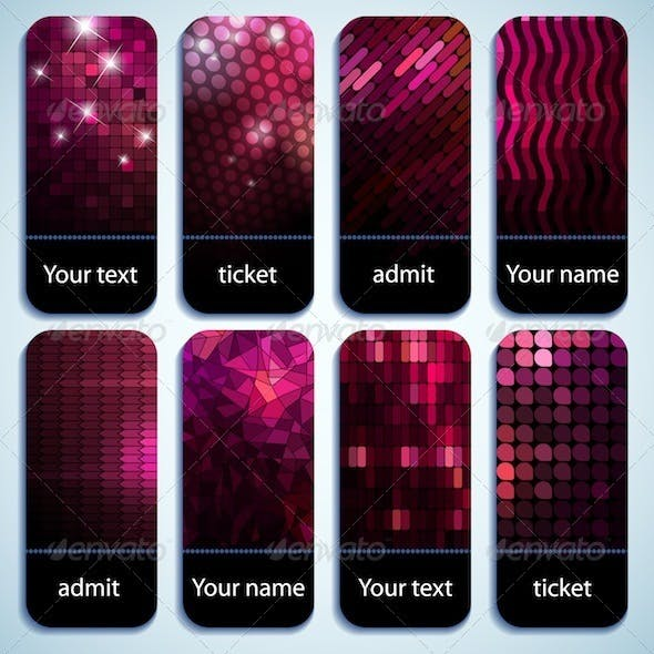 Set of glowing tickets
