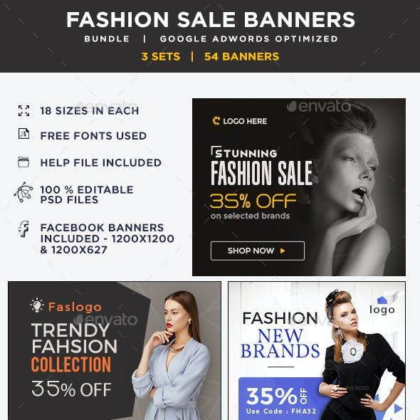 Fashion Sale Banners Bundle - 3 Sets - 54 Banners