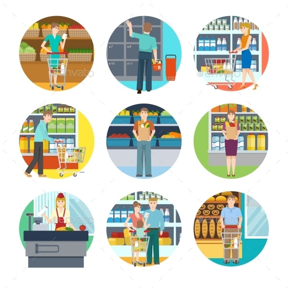 People In Supermarket Icons - People Characters