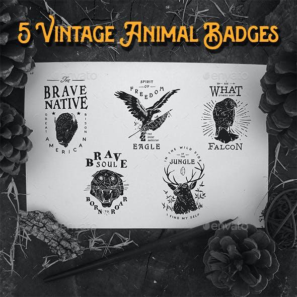 5 Vintage Animal Badges