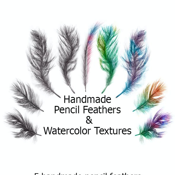 Handmade Pencil Feathers & Watercolor Textures