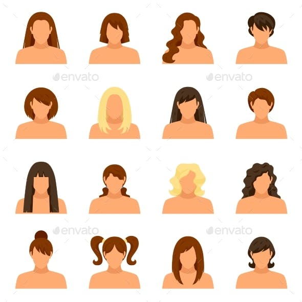 Woman Hairstyle Icons Set