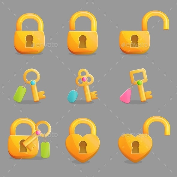 Golden Locks and Keys with Charms - Web Elements Vectors