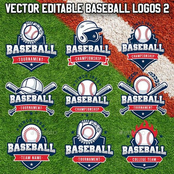 Vector Editable Baseball Logos 2