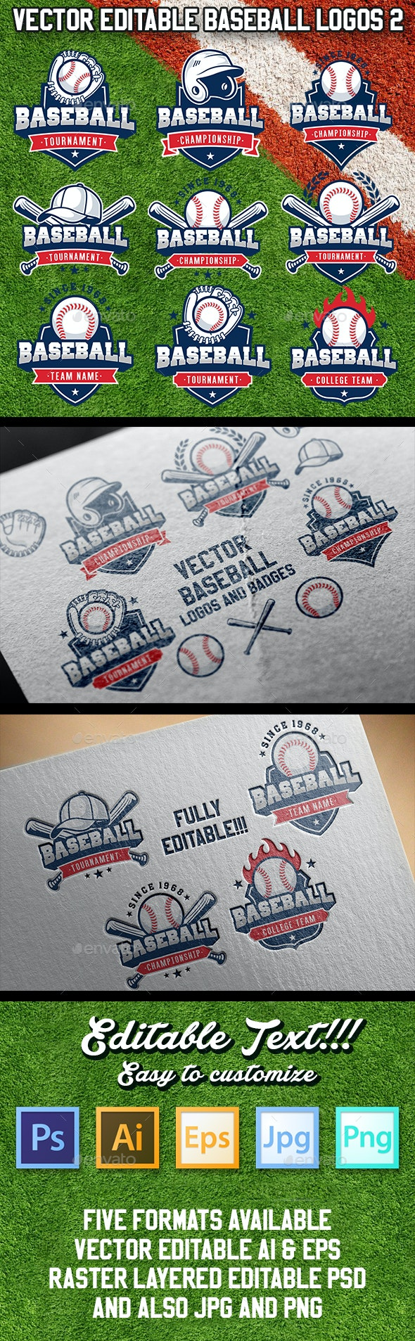 Vector Editable Baseball Logos 2 - Sports/Activity Conceptual