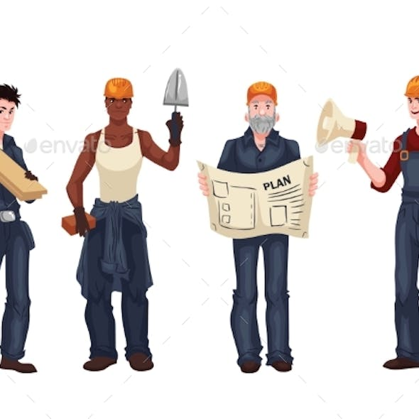 Set Of Industrial Workers - Foreman, Builder