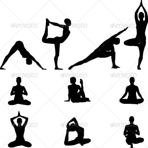 Yoga Silhouettes - Vector Illustration set