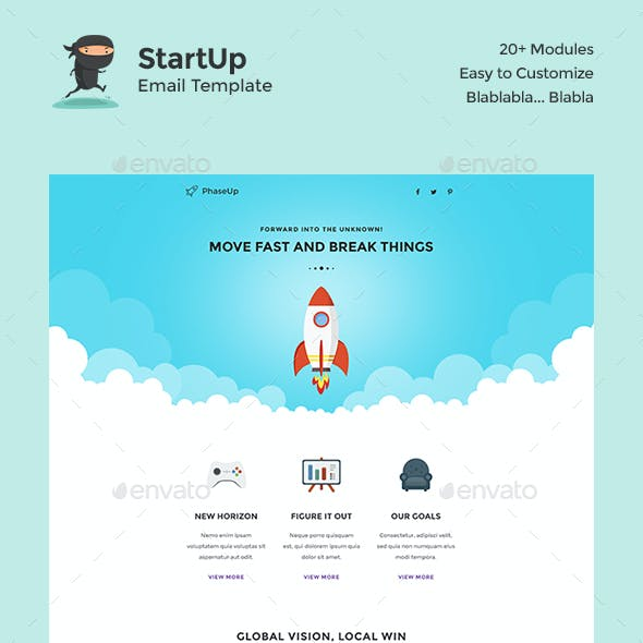 PhaseUp Start-Up E-Newsletter PSD Template