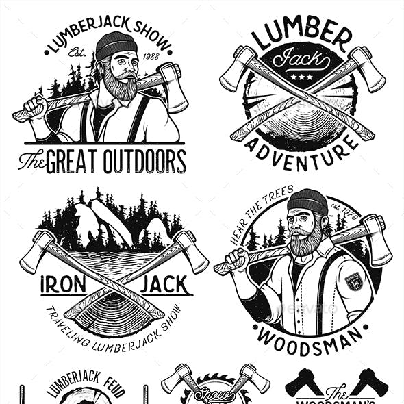Set of Woodworkers,Lumberjack, Sawmill Service Monochrome Vector Labels