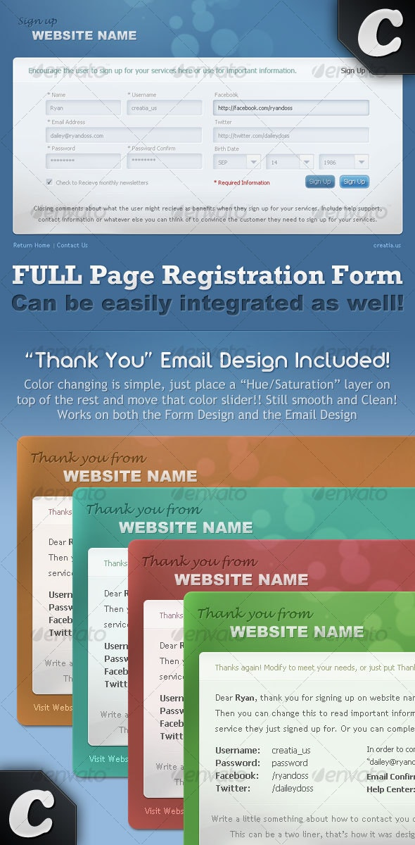 """Full Registration Form with """"Thank You"""" email - Forms Web Elements"""