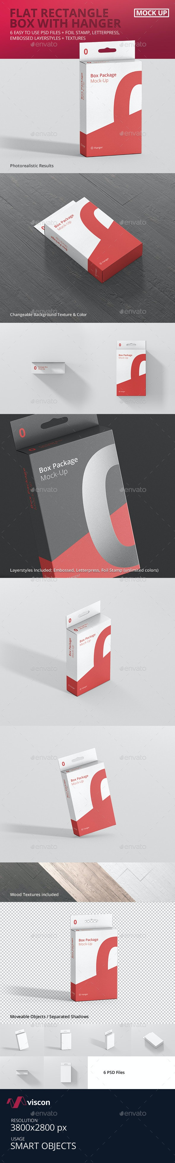Package Box Mock-Up - Flat Rectangle with Hanger - Miscellaneous Packaging