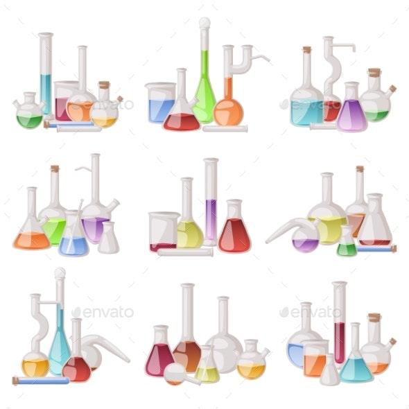 Lab Flask Vector Set. - Backgrounds Decorative