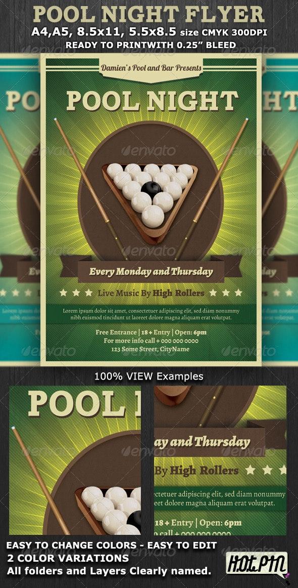 Pool Night Flyer Template - Flyers Print Templates