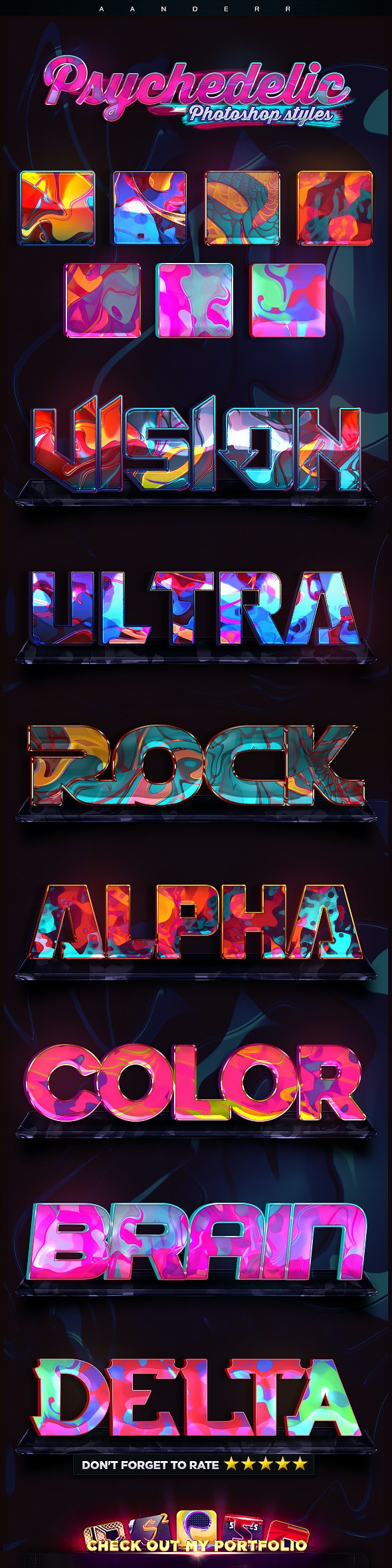 Psychedelic Photoshop Styles - Text Effects Styles
