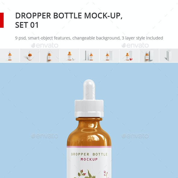 Dropper Bottle Mock-up and Package Box Mockup