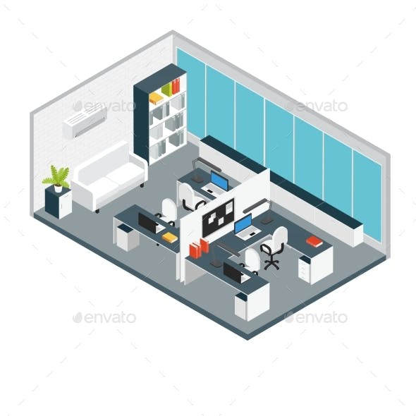Isometric Interior Office Workplace Composition