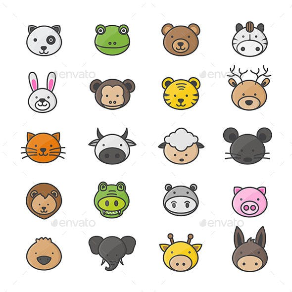 Animal and Cartoon Characters Set Of Pets Color Icon Style Colorful Flat Icons
