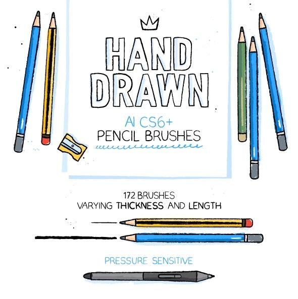 172 Illustrator Pencil Brushes - Brushes Illustrator