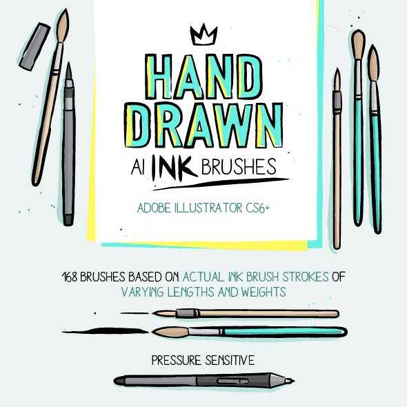 168 Illustrator Ink Brushes